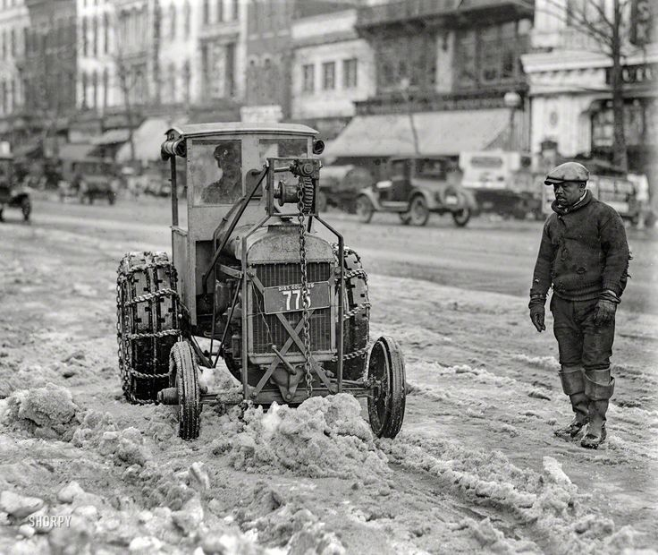 """Washington, D.C., 1925. """"Snow removal -- Ford tractor."""" A teaspoon at a time. National Photo Company Collection glass negative."""