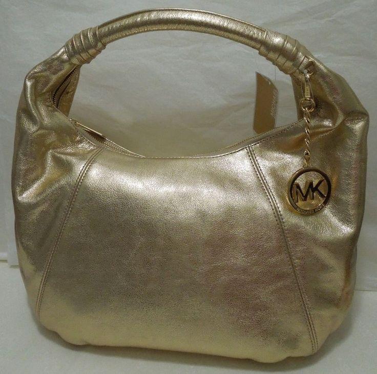 NWT MICHAEL KORS Leather HOBO Handbag, Shoulder Bag, Tote, Pale Gold MSRP $398  | eBay