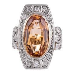 1910 Antique Edwardian 6 Carat Imperial Precious Topaz Diamond Gold Ring