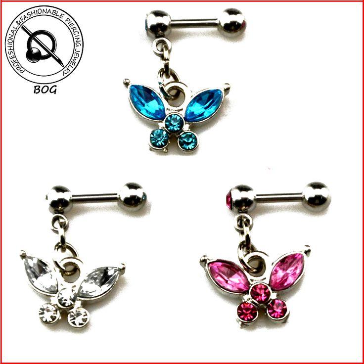 BOG-1 Piece Ear Cartilage Tragus Helix  Stud Ear Piercing Earring Stud With Gemmed Butterfly Dangle Pendant Body Jewelry