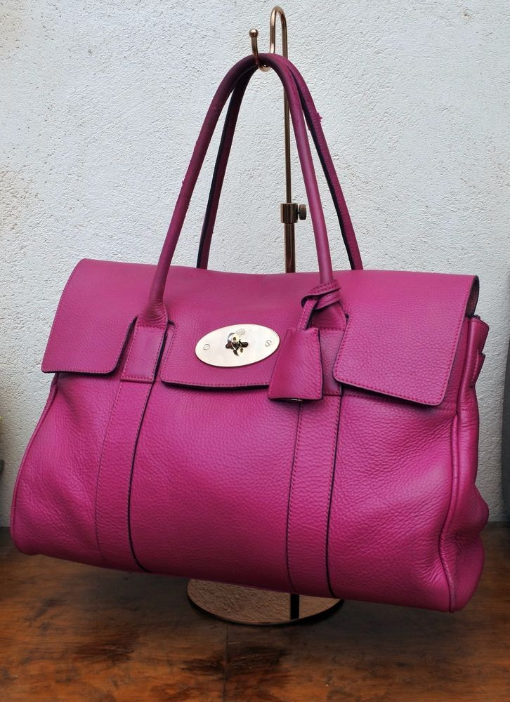 Authentic MULBERRY bag BAYSWATER fushia PINK spongy pebbled RECEIPT *FREE P&P*