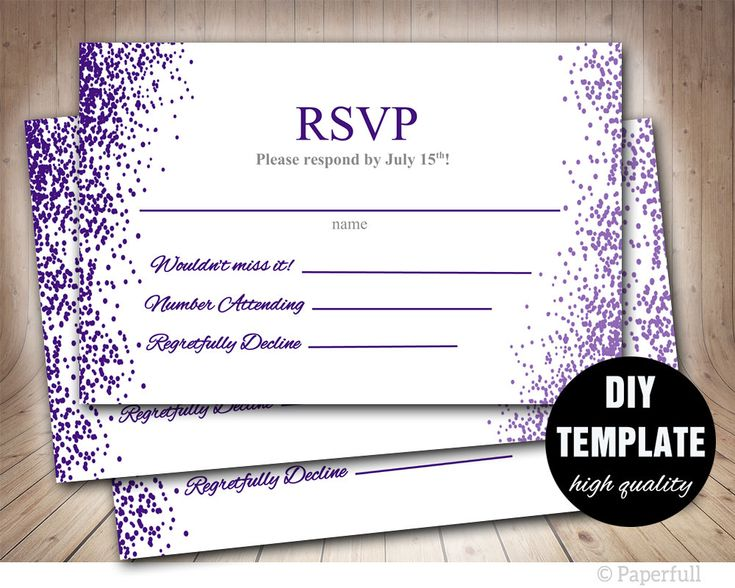 Wedding RSVP template,Wedding RSVP,Wedding Response Cards,Purple Wedding RSVP Card, Aubergine Wedding by paperfull on Etsy