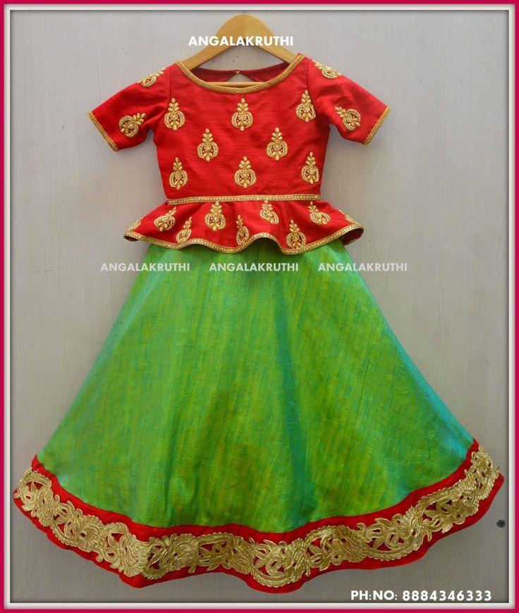 #hand Embroidery design kid lehenga designs by Angalakruthi boutique Bangalore