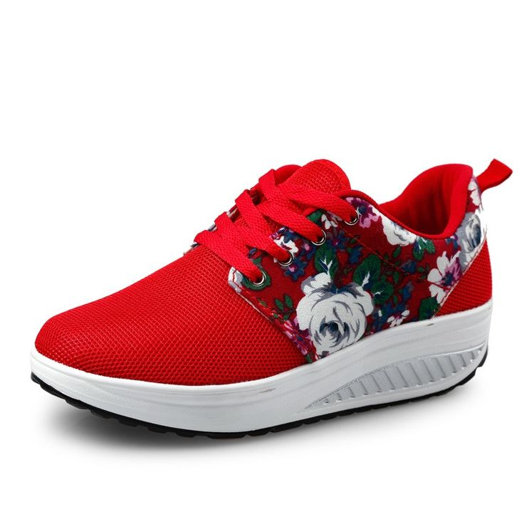 Women Wedge Casual Shoes Outdoor Breathable Height Increasing Shoes female lace up walking shoes zapatos mujer trainers XK072204