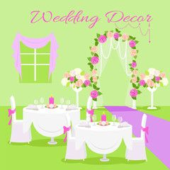 Wedding Ceremony Decor Flat Design Vector Concept