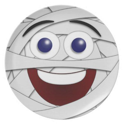 Laughing Smiley Face Mummy Melamine Plate - halloween decor diy cyo personalize unique party