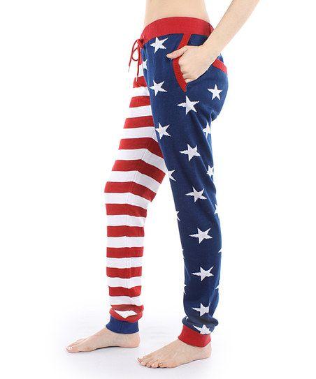Red & Blue American Flag Sweatpants - Women