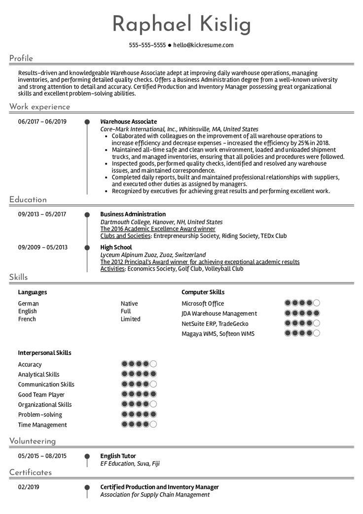 Warehouse Associate Resume Sample in 2020 Resume