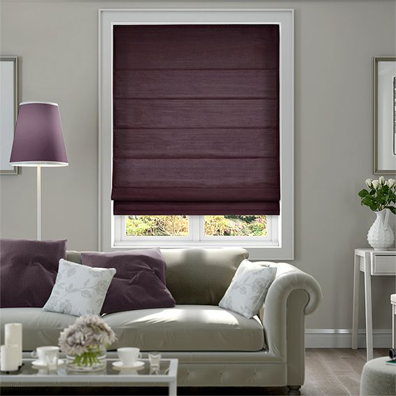 Dupioni Faux Silk Purple Roman Blind from Blinds 2go