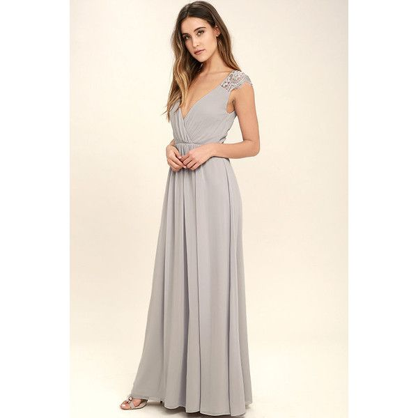Whimsical Wonder Light Grey Lace Maxi Dress ($109) ❤ liked on Polyvore featuring dresses, lulus dress, long pleated maxi skirt, long maxi skirts, lace dress and pleated maxi dress
