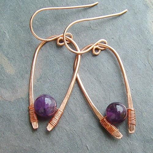 Amethyst Earrings Inverted Hoops - very Egyptian                              …