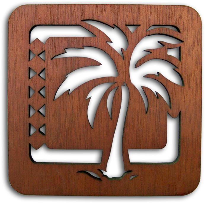 New 2 Pack Palm Tree Wood Two Trivets Island Hawaiian Decor Dining Wooden Trivet