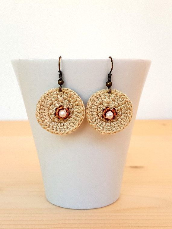 Hook earring clips earring crochet earring  by FlaviacAccessories
