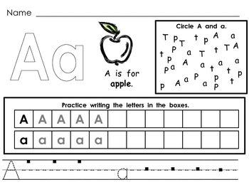 This file has a page for each letter of the alphabet. Students color the letter, read a sentence about the letter and sound, find the focus letter, and practice writing the letter. These practice pages would be great as morning work, homework, literacy center, or during word work.    These can be used as regular worksheets; they can also be printed and placed in sheet protectors to use in a center. Students love doing these papers over and over with dry erase markers as a literacy center. $Literacy Centers, Letter Recognition, Morning Work, Practice Writing, Kindergarten Homework Sheet, Mornings Work, Letters Recognition, Student Colors, Independence Practice