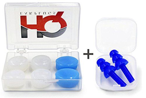 HQ Earplugs Set | Hearing Protection & Waterproff, Swimming, Sleep, Snoring, Travel, Concert, Shooting |4 Pair| Moldable ear plugs, 1 Size Fits All, Kids & Adults. Noise Reduction 25/29 db - Reusable  ✪ ULTRA COMFORTABLE & EASY TO USE! The moldable pairs can be molded, while the Triple Ribbed Design silicone pair can be cut so that all of them can best fit the user's ear for extra comfort. They are very practical, easy to use and anti-slipping. Moreover, they come in two different colo...