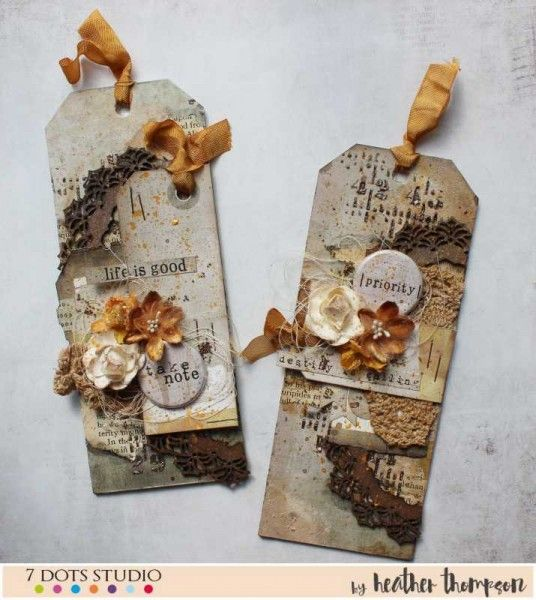 """Heather sharing a tag set titled """"Destiny is Calling"""". She wanted to make a set that is vintage looking but with a little bit of shabbiness.  Project by Heather Thompson featuring 7 Dots Studio collection: Lost&Found. For more information please visit our blog."""