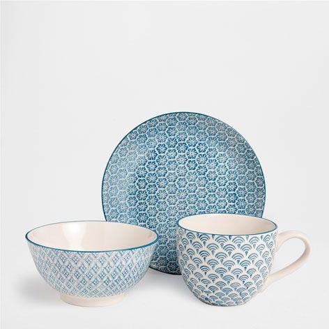 service petit d jeuner carreaux de fa ence porcelaine vaisselle table zara home france. Black Bedroom Furniture Sets. Home Design Ideas