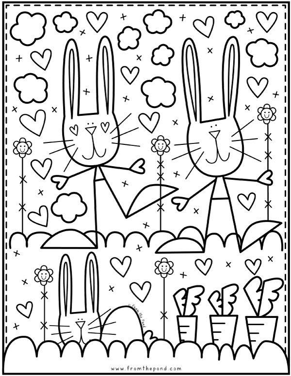 A free bunny rabbit coloring page to download and color
