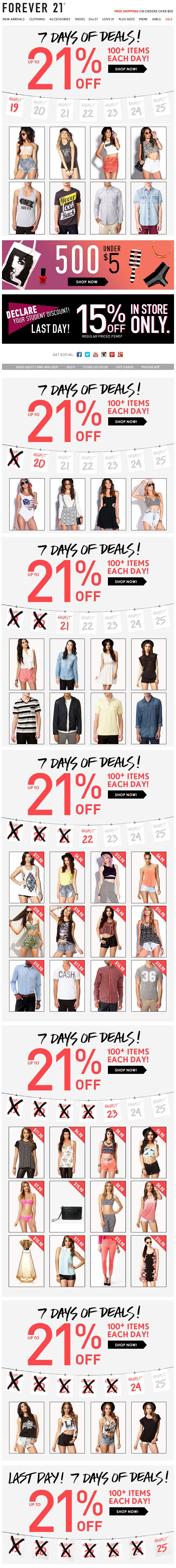 Forever 21 : Days Of Sale #emailmarketing