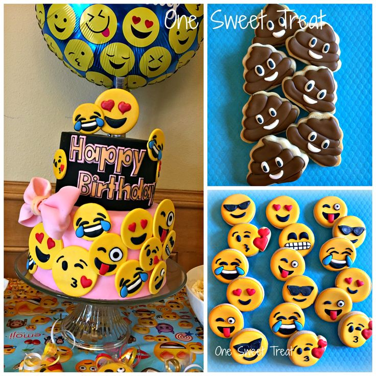 Emoji birthday cake and cookies. This was my daughter's birthday cake to…
