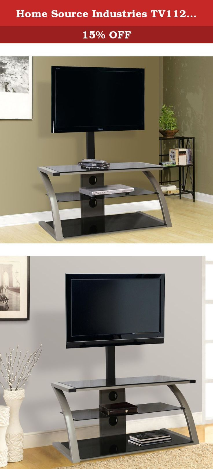 """Home Source Industries TV11242 Modern TV Stand with Mount and Shelving for Components, Black/Chrome. Display your flat-panel plasma or LCD television in style with this TV stand. Designed to accommodate televisions up to 55"""", the TV stand features a sharp angular design and distinctive silver accent sides. The three shelving units complement a modern home decor, and they also allow for the storage and display of numerous entertainment accessories."""