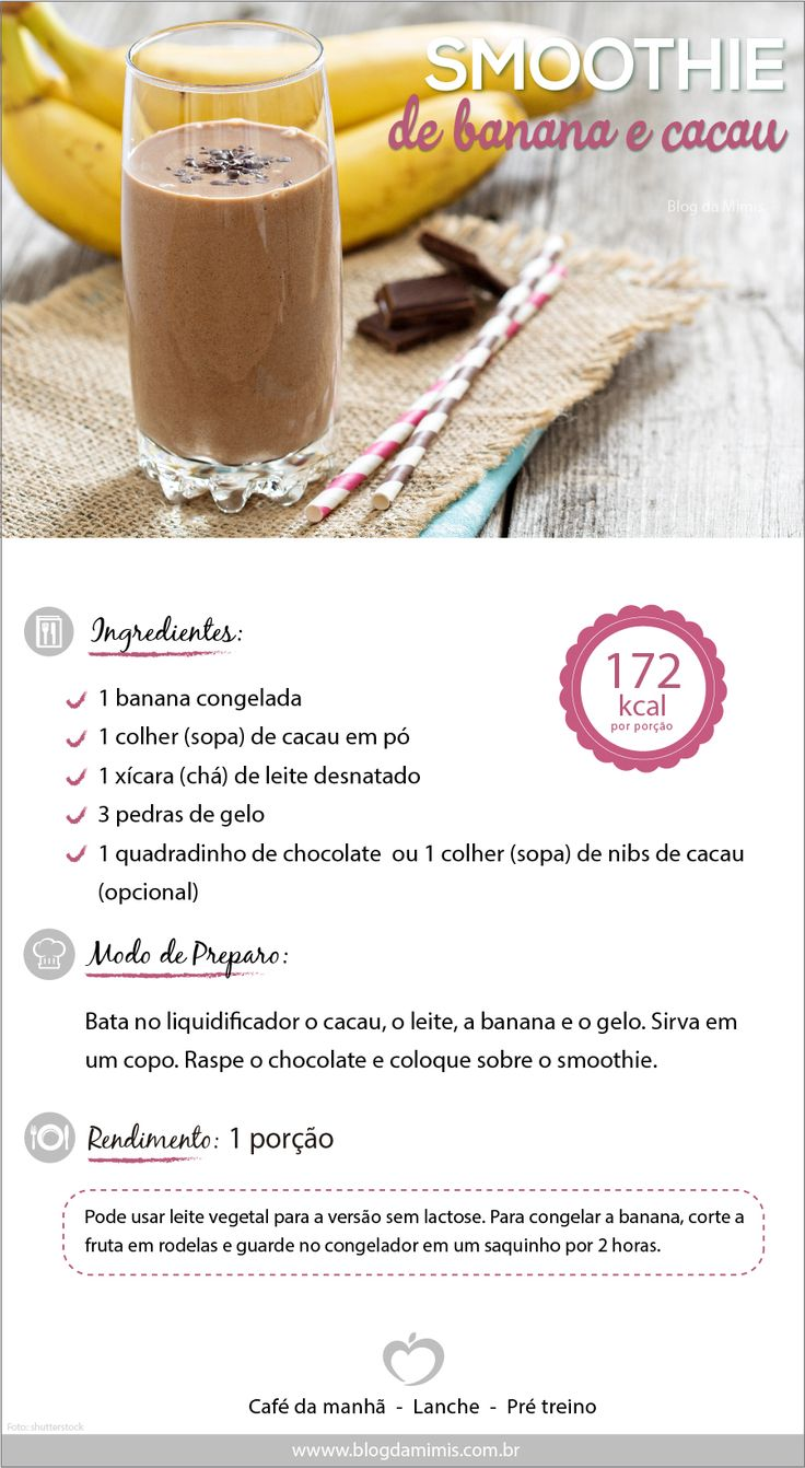 moothie de banana e chocolate