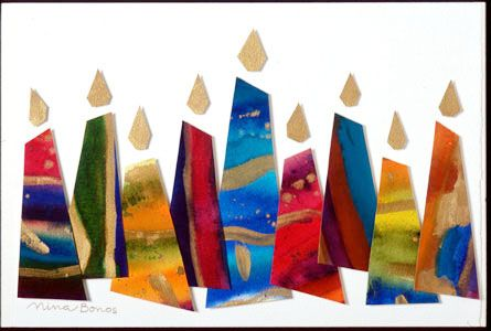 Holiday: Eight Lights for Eight Nights, watercolour collage by Nina Bonos