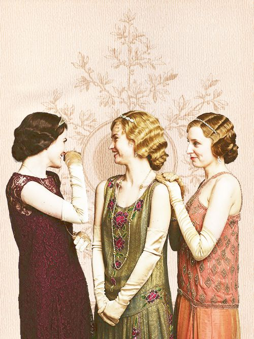 Downton Abbey - the girls. Lady Mary, Lady Rose, and Lady Edith.