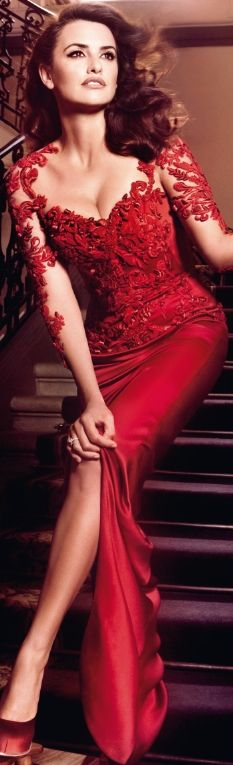 Gorgeous Red Gown worn by Penelope Cruz for Campari Calendar 2013