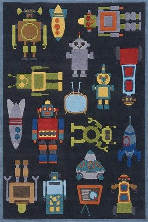 'Lil Mo Whimsy rug line from Momeni.  This robot rug is one of our favorites at Carpet Time and we often stock.  Call and inquire today!