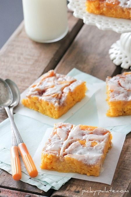 A definite try this fall -  Cinnamon Roll Pumpkin Vanilla Sheet Cake  (hands down, one of the best cakes you will ever eat...perfect for holiday gatherings too...!)