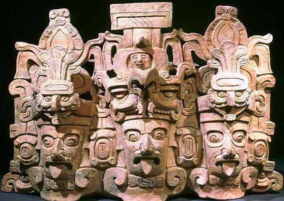 Incensario, Pacific Lowlands, 3 Faces of K'inich Ahau, Sun God