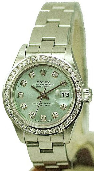 - Item Number: LDSDJSDBIBLECHNLOYS - Brand: Rolex - Model Number: 69160 - Series: Datejust - Gender: Ladies - Case Material: Stainless Steel - Case Diameter: 26mm - Dial Color/Diamond Quality: Ice Blu