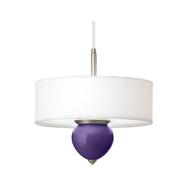 """Izmir Purple Cleo 16"""" Wide Pendant Chandelier ($190) ❤ liked on Polyvore featuring home, lighting, ceiling lights, purple chandelier lighting, purple shade, purple lamp, purple chandelier and purple lights"""