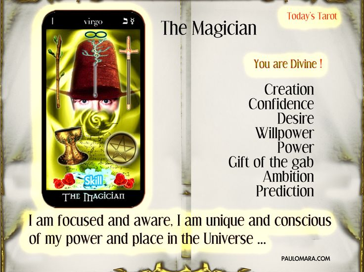 More on the Magician: The Magician Tarot detailed meanings Tarot meanings for the whole deck: Tarot detailed meanings Free Tar...
