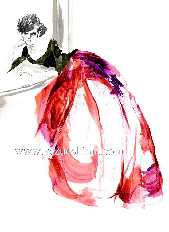ファッションイラストレーション ドレス