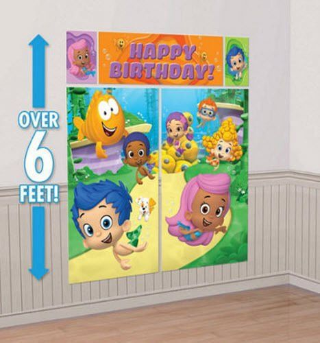 BUBBLE GUPPIES SCENE SETTER BIRTHDAY WALL BANNER DECORATION PARTY SUPPLIES. Bubble Guppies HAPPY BIRTHDAY GIANT SCENE SETTER WALL DECORATIN. 2pc - 32.5 X 59 inches. 1pc - 44 x 16 inches. 2pc - 10 x 16 inches.