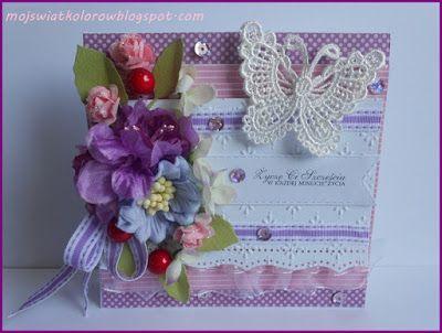 Mój świat kolorów...: Kartka z fioletowym akcentem...