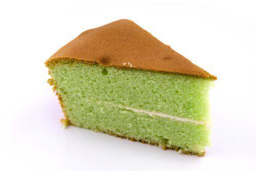 Pandan (screwpine) flavoured chiffon cake - a popular Asian treat. Image: Teo Boon Keng Alvin Shutterstock.com
