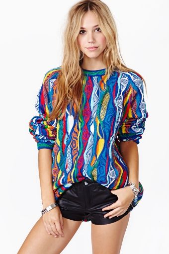 intageCoogisweater featuring multicolor textured detailing with a high ribbed neckline. Oversized fit.