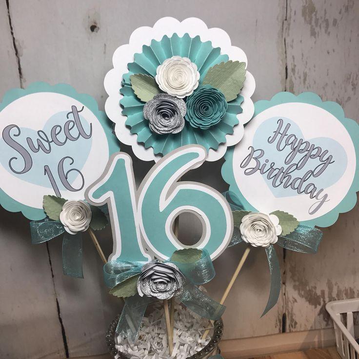 Sweet 16 Centerpiece, Sweet 16 Party Centerpiece, Sweet 16 Birthday Party Decor, 16th Birthday, Sweet 16 Centerpiece by Lollypaper on Etsy https://www.etsy.com/listing/510353704/sweet-16-centerpiece-sweet-16-party
