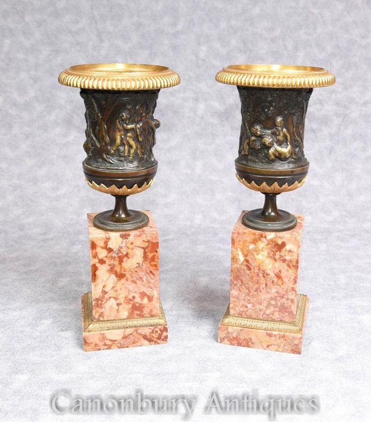 Pair Italian Grand Tour Bronze Campana Urns on Marble Pedestal Bases 1900