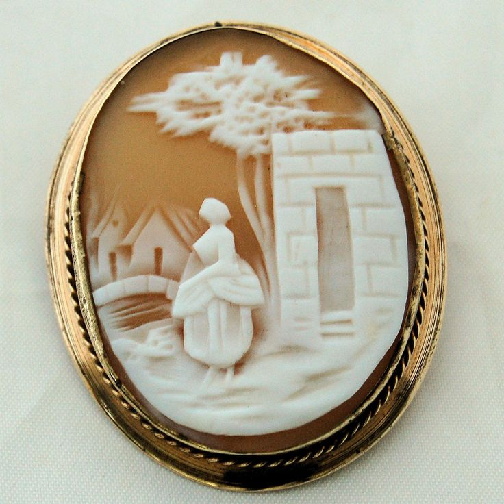 Victorian Carved Shell Cameo Brooch Pin Gold Filled Frame from Antik Avenue on Ruby Lane #cameos