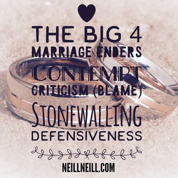 The Big Four Marriage Enders:  Contempt, Criticism (Blame), Stonewalling & Defensiveness.  NeillNeill.com