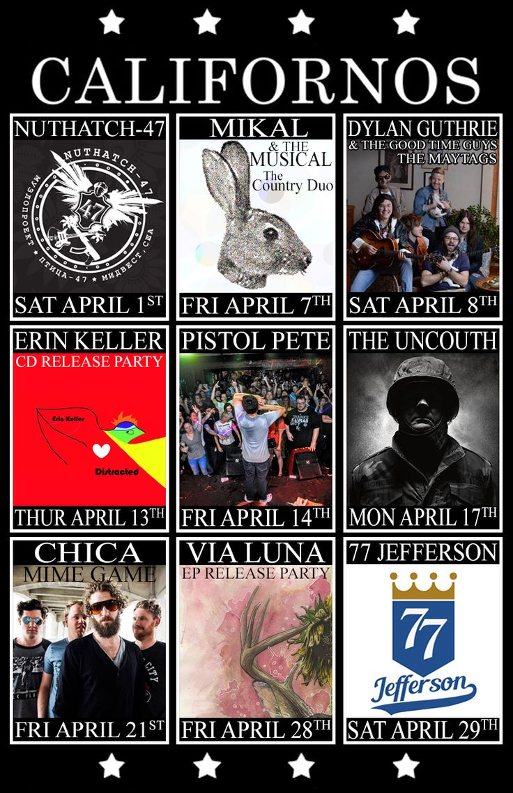 Upcoming Shows and Live Music at Californos Venue in Kansas City April 2017
