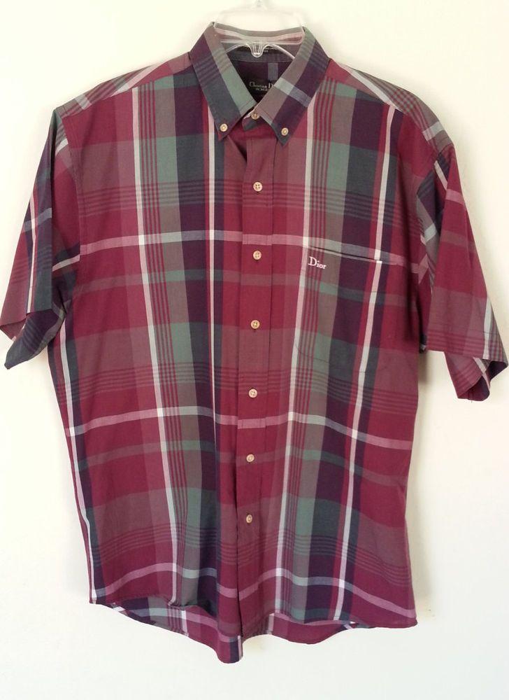 Mens christian dior shirt medium short sleeve checkered