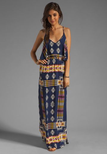 EIGHT SIXTY Tribal Maxi in Navy at Revolve Clothing - I NEED THIS! Would be so cute with my blue blazer.....