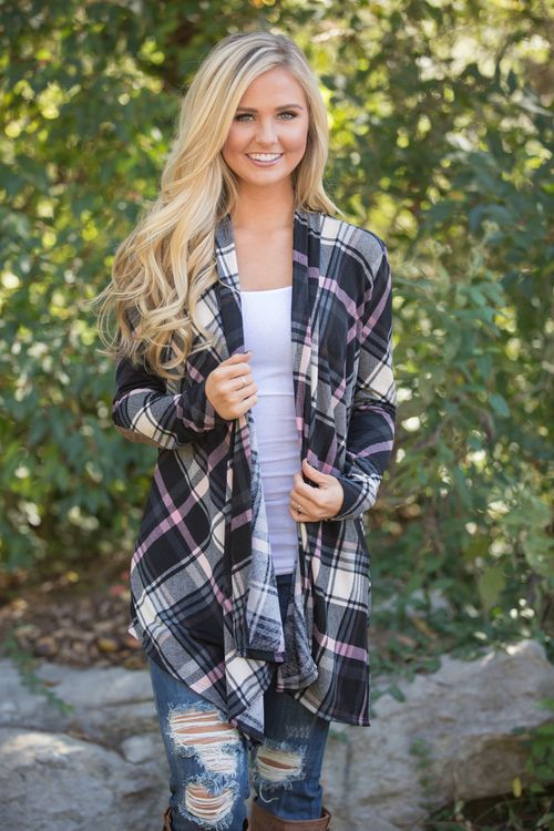 This beautiful plaid cardigan is made for relaxing fall days!