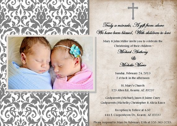 11 best Christening Baptism Invitations images on Pinterest - sample baptismal invitation for twins