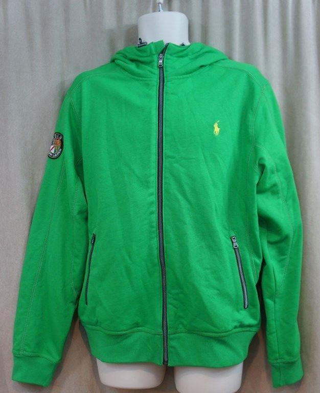 Ralph Lauren Mens Sweater Sz L Green Solid Full Zip Hooded Casual Sweater  #RalphLauren #FullZip